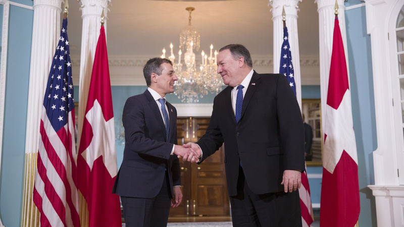 Bundesrat Cassis trifft US-Aussenminister Pompeo in Washington